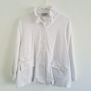 Terra SJ Apparel 100% Linen White Button Front Top